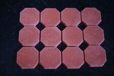 Dark Red Octagonal Floor Tiles - Dolls House