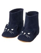 Gymboree Little Pals Navy Blue Kitty Cat Boots Shoes Infant Baby Girl Size 2 NEW