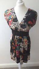 Dorothy Perkins Colourful Silk Feel Tunic / Short Dress Top S.10