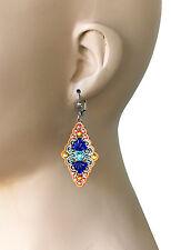 """2.5"""" Long Orange & Blue BOHO Vintage Style Earrings By Anne Koplik, Made In USA"""