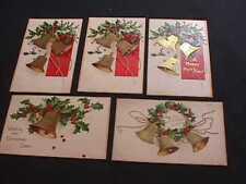 5 ELLEN H. CLAPSADDLE BELLS & HOLLY CHRISTMAS GREETINGS POSTCARDS