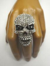 Totenkopf Ring versilbert mit Swarovski Crystal Zugband Skull Schädel STRASS