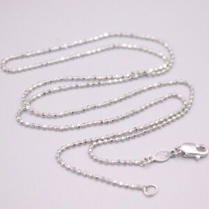 """Pt950 Solid Platinum Beads Chain Necklace GUARANTEED PURE PLATINUM 18""""L 1mmW"""
