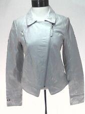 PUMA FERRARI Genuine Leather Moto Jacket Pearlescent White Women's S $500