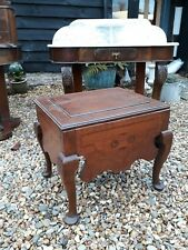 georgian oak commode cabriole legs bedside stool table