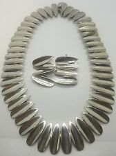 Vintage Mid Century Modern Sterling Silver 925 TN-75 Mexico Earrings Necklace