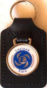 Leyland Cars Keyring Key Ring - badge mounted on a leather fob