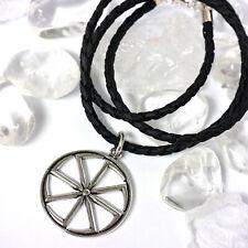Schwarz Sonne Rad Okkult Satanism Lucifarian Anhänger 50.8cm Verdreht Halsband