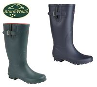 LADIES WIDE FIT LEG Welly Boots Navy Green Strap Wellingtons  Size 3 4 5 6 7 8 9