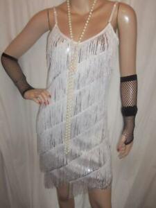 2/8 NEW CRYSTAL WHITE SILVER SEQUIN FRINGE FLAPPER 1920 TASSEL FANCY DRESS 6