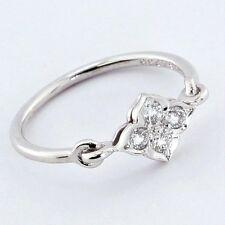 Estate Authentic Cartier 18K White Gold F-VVS1 Diamond Ring size 4