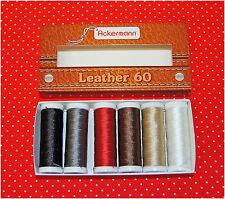 (17,99€/Km) ACKERMANN® Leder Nähgarnset Farben Mix Stärke 60, 6x 120m, Ledergarn