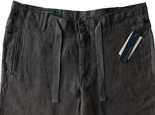 Men's PERRY ELLIS Slate Gray Pure Linen Drawstring Pants Tagged 30 NWT NEW Wow!