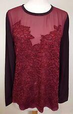 DIANE VON FURSTENBERG Burgundy Branwen Lace Front Long Sleeve Silk Blouse Top 10