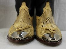 Vintage Custom Made Cobra Skin Full Head Silver Tip Cowboy Boots Mens Sz 10 1/2