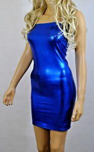 Mini Dress Blue Metallic Wet Look PVC Stretch Strapless Boob Tube Bodycon D140