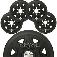 "4 MATTE BLACK 2014-2018 Chevy Silverado 1500 17"" Wheel Skins Hub Caps Rim Covers"