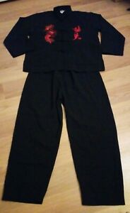 Teen Boys Martial Arts Kung Fu Tai Chi Chinese Traditional Jacket Suit Black NEW