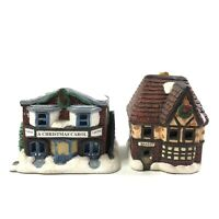 Set of 2 Handpainted Christmas Village Buildings Bakery Movie Theater
