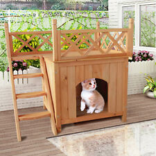 New listing Pet Wooden Cat House Living House Kennel With Balcony Wood Color~