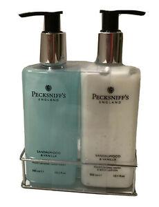 PECKSNIFF'S ENGLAND Sandalwood & Vanilla Hand Wash & Body Lotion Includes Stand