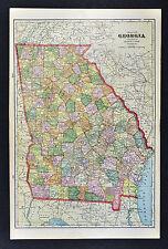 c 1899 Cram Map - Georgia  Atlanta Savannah Athens Marietta Dalton Rome Columbus
