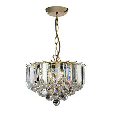 Endon Fargo small chandelier 3x 60W Brass effect plate & clear acrylic