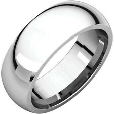 7mm 18K Solid White Gold Plain Dome Half Round Comfort Fit Wedding Band Ring