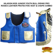 C-871Y Hilason Kids Junior Youth Bull Riding Pro Rodeo Leather Vest Chaps