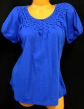 Peace + pearls blue basket weave detail short sleeve women's plus size top XL