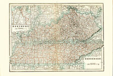 1896 Color Map of KENTUCKY and TENNESEE - Inset of Cincinnati