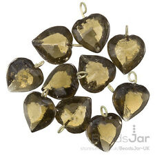 Transparent Grey Glass Heart Charm Pendants 15mm Pack of 10 (A93/7)