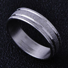 Fashion White stainless steel mens Boys Band Scrub Ring Jewelry Size 7
