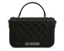 Love Moschino Black Quilted Clutch Bag With Studs + Dustbag
