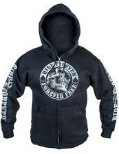 RIDE FOREVER SKULL  Kapuzenjacke Biker Hooded Sweatshirt Pullover Zipper Harley