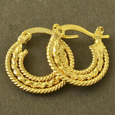 Vintage jewelry Yellow Gold Plated Embossed Womens round small Hoop Earrings