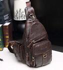 New Men Genuine Leather Cowhide Travel Shoulder Messenger Sling Pack Chest Bag