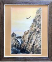 LISTED ARTIST- HARRIET USHERSON, Impressionistic Pastel. Cliffs And Water.