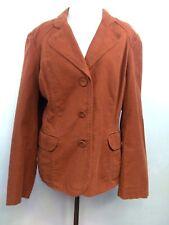 J. Jill Women's Jacket Rust Orange Three Button Blazer Brushed Cotton size 14