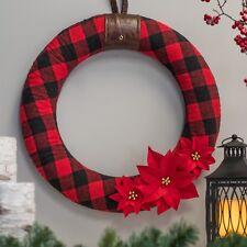"Nwt rustic christmas decor  felt buffalo plaid  FABRIC 22"" dia. christmas wreath"
