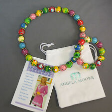 New Angela Moore Hand Painted Matching Set NECKLACE BRACELET Golf Clubs Tee Flag