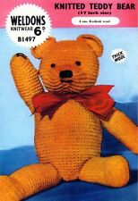 Vintage Knitting pattern for an adorable teddy bear who stands 17 in 41 cm tall