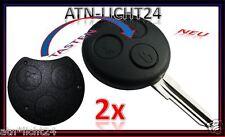 2x Tastenfeld für Schlüssel Gehäuse 3T. Tasten Knopf für Smart ForTwo 450 451