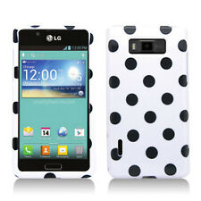 LG Optimus Showtime HARD Protector Case Snap Phone Cover White Black Polka Dots