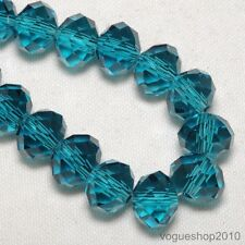 35pcs Peacock Blue Faceted Rondelle Loose Crystal Glass Bead 8mmx6mm B2006