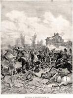 1860: Battaglia di Milazzo: Garibaldi. Matania.Stampa Antica + Passepartout.1889