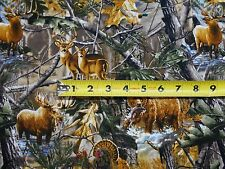 Realtree Animals Forest Bear Deer Moose Ducks Camo Nature BY YARDS Cotton Fabric