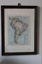 SUD AMERICA ANTICA STAMPA TOPOGRAFICA CORNICE IN LEGNO  VINTAGE SUD AMERICA MAP