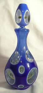 Vintage Venetian Art Glass Cut Decanter Millefiori Blue Cobalt Paperweight Italy