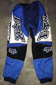 Boys Fox Racing Motorcross Pants Size 28 (12 -14)  Blue/Black/White